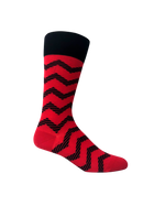 6 pack Groomsmen Socks for Weddings - Individually Gift Boxed - Groomsmen Gifts-Men's Wedding Socks - Zig Zag Red and Black Striped Dress Socks
