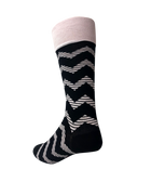 1 pack Groomsmen Socks for Weddings - Individually Gift Boxed - Groomsmen Gifts-Men's Wedding Socks - Zig Zag Black and White Striped Dress Socks