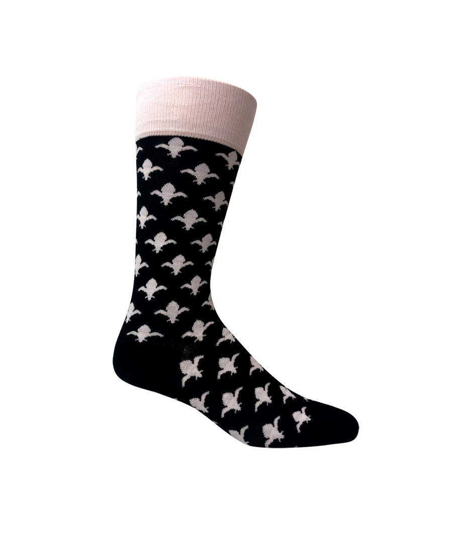 Groomsmen socks for weddings. Love Sock Company black and white dress socks with Fleur De Lis