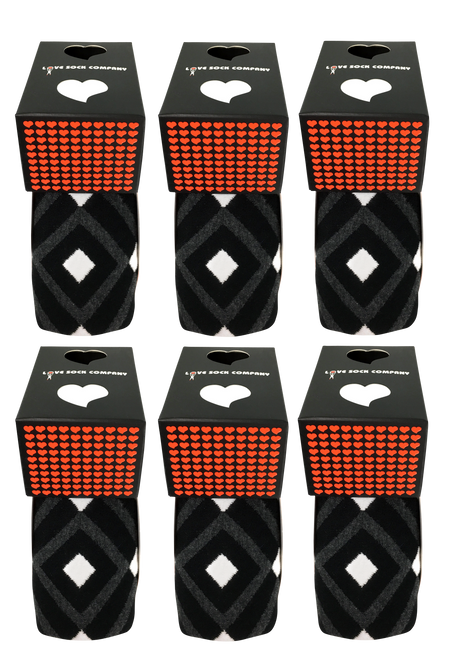 Groomsmen Socks Set - 6 Premium organic cotton black argyle men's dress socks