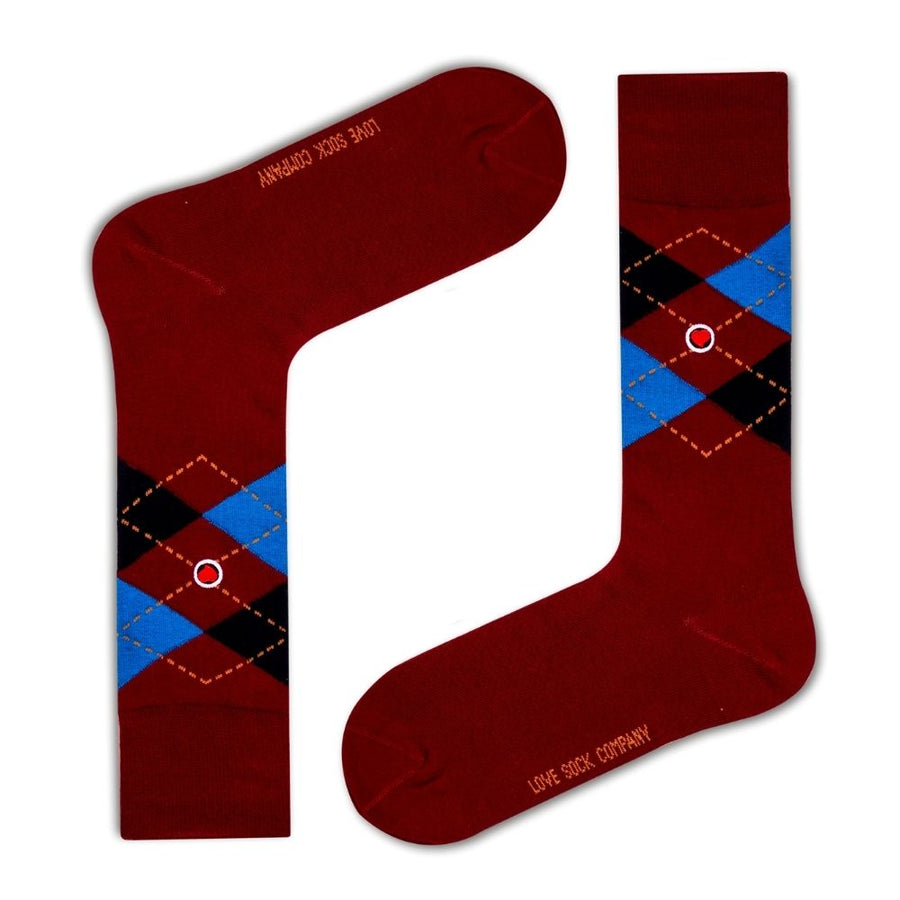 Men's Argyle Dress Socks Burgundy Love Sock Company (M) - LOVE SOCK COMPANY
