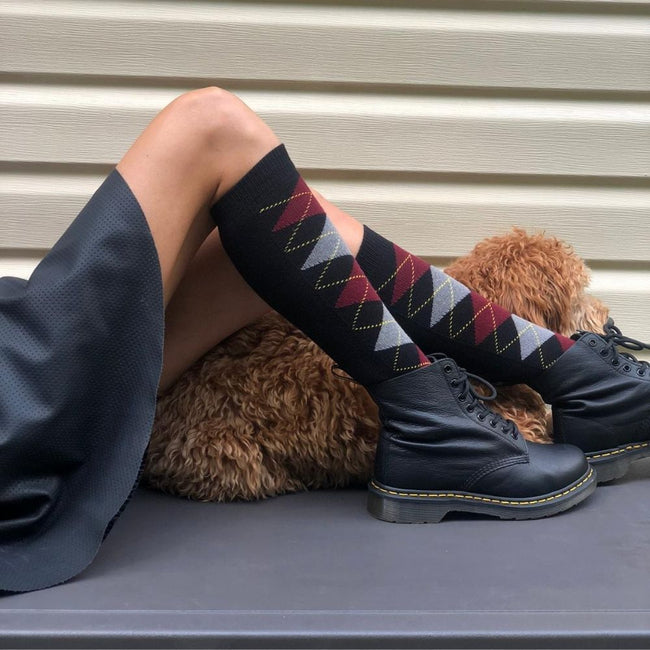 Argyle Knee High Socks (W) - LOVE SOCK COMPANY
