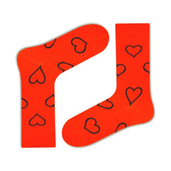 Big Heart Colorful fun patterned organic novelty orange crew socks - LOVE SOCK COMPANY