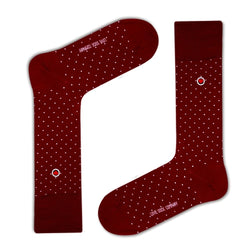 Biz Dots Men's Polka Dot Premium Dress Socks Burgundy Love Sock Company (M) - LOVE SOCK COMPANY