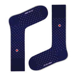 Biz Dots Men's Polka Dot Premium Dress Socks Navy Blue Love Sock Company (M) - LOVE SOCK COMPANY