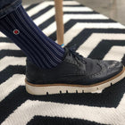 Men's Navy Ribbed Dress Socks With Stripes - Business Stripes (M) - LOVE SOCK COMPANY