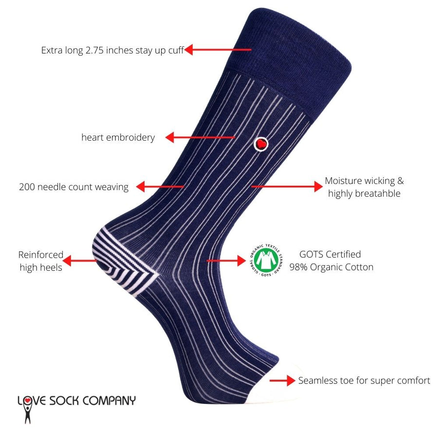 Men's Navy Ribbed Dress Socks With Stripes - Business Stripes (M)