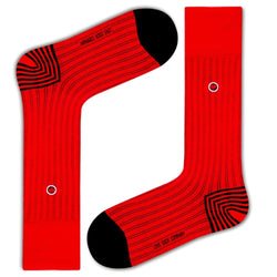 Men's Red Ribbed Dress Socks With Stripes - Business Stripes (M) - LOVE SOCK COMPANY