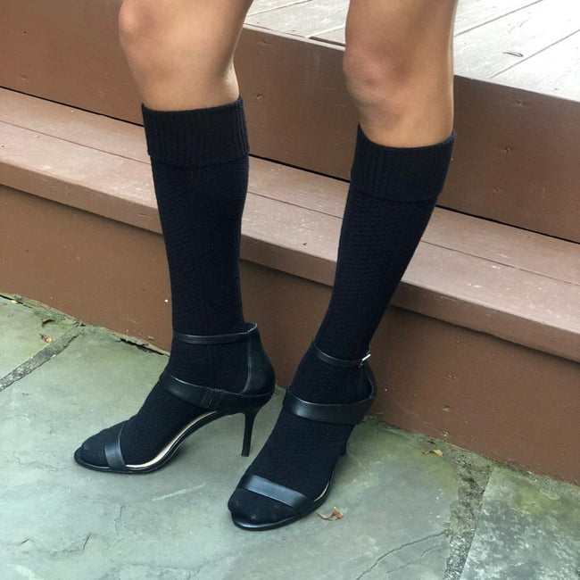 Knee High Boot Socks Black (W) - LOVE SOCK COMPANY