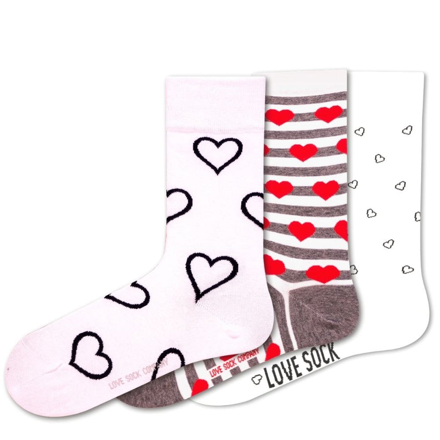 Love Sock Company 3 Pairs Colorful Funky Women's Crew Socks Hearts
