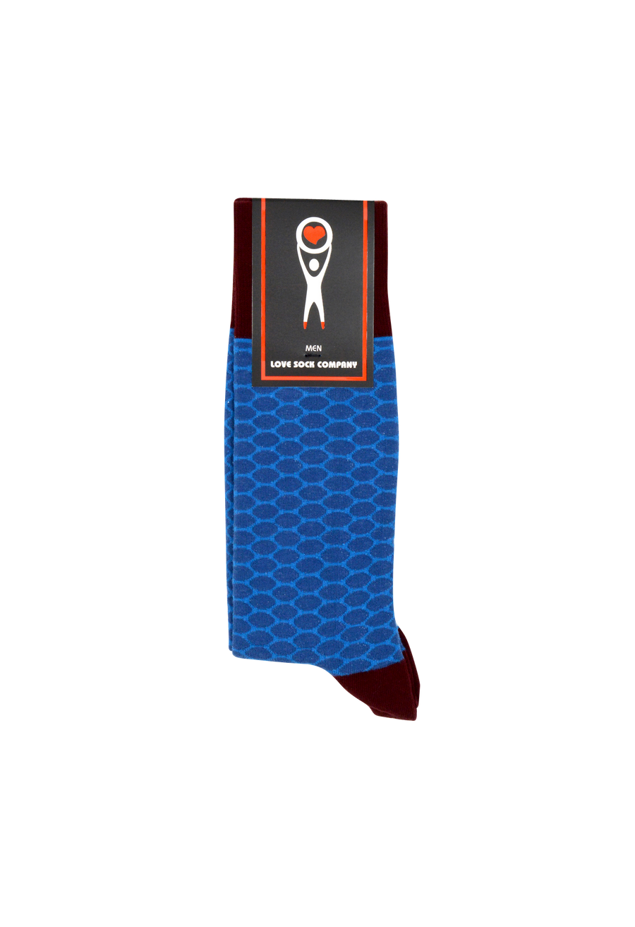 Men's blue patterned casual socks | Hexagon