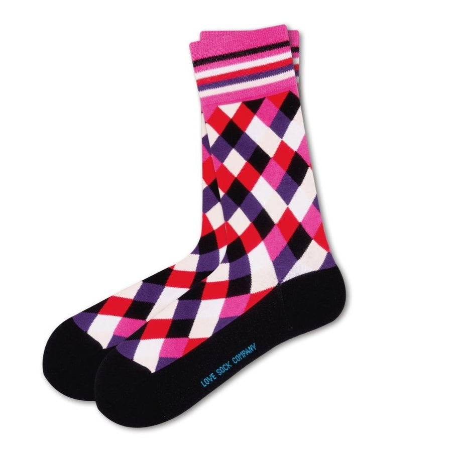 Love Sock Company Colorful Patterned Women's Pink Dress Socks Milos (W) - LOVE SOCK COMPANY