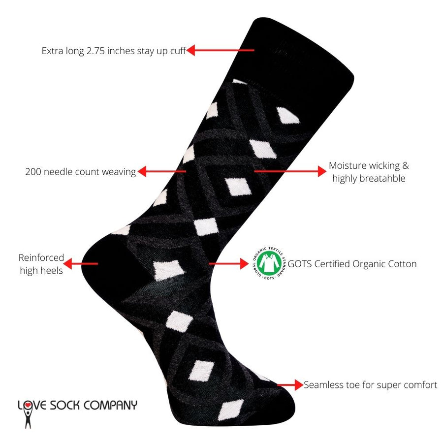 Love Sock Company Colorful Fun Patterned Men's Dress Socks Mirrors Black (M)