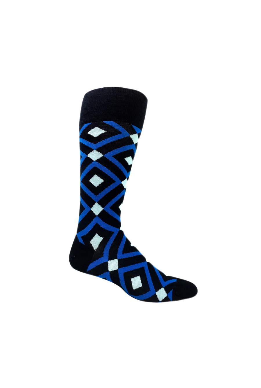 Groomsmen Socks Set - 6 Premium organic cotton blue argyle men's dress socks