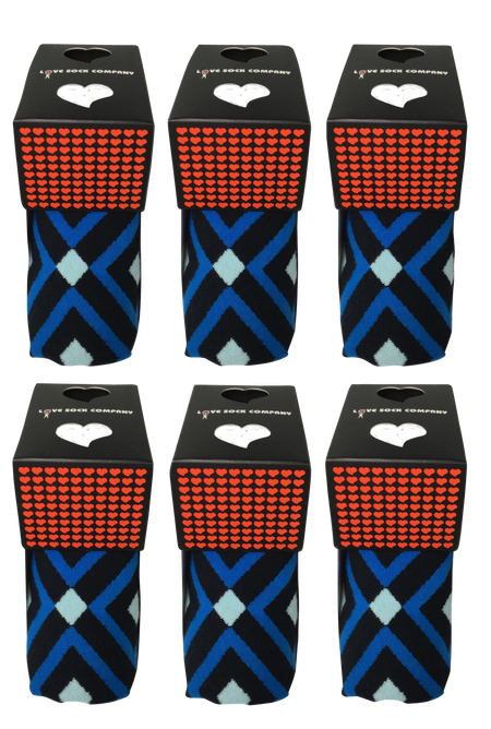 6 pack groomsmen socks for wedding. Love Sock Company men's navy blue argyle dress socks. Mirrors