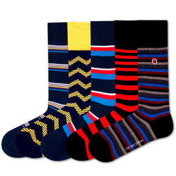 5 Pack Men's Stripes Dress Socks Bundle Montreal