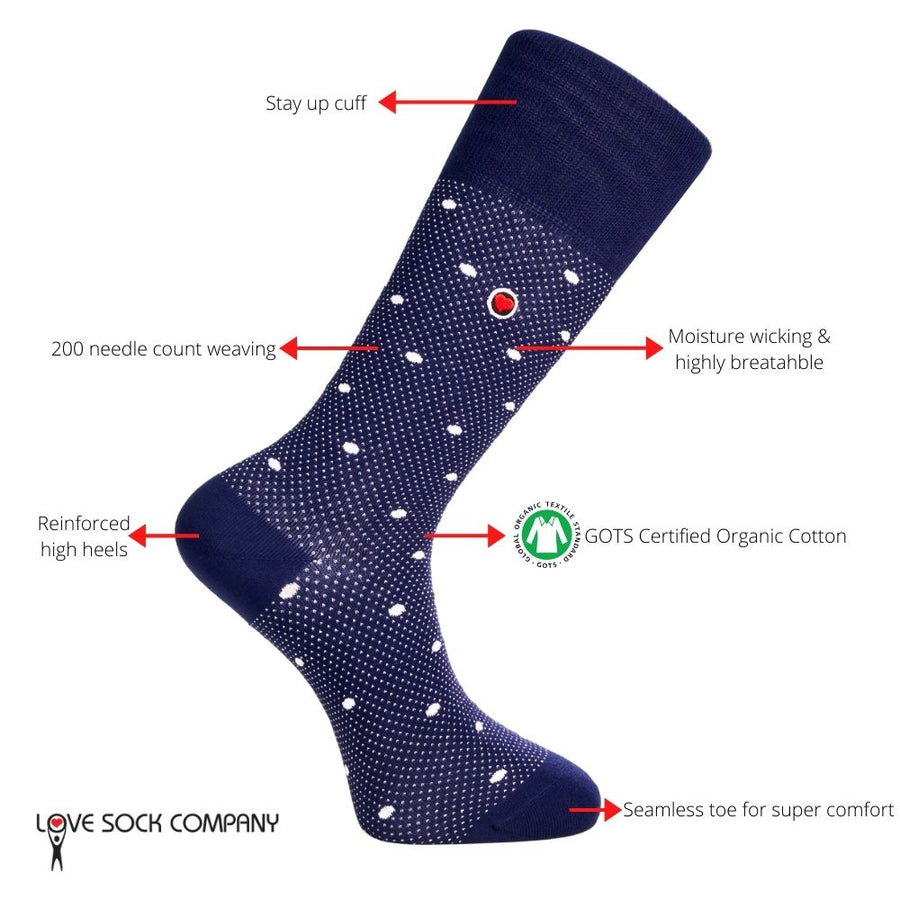 Love Sock Company Premium Colorful Funky Patterned Men's Dress Socks Luxury Navy - LOVE SOCK COMPANY