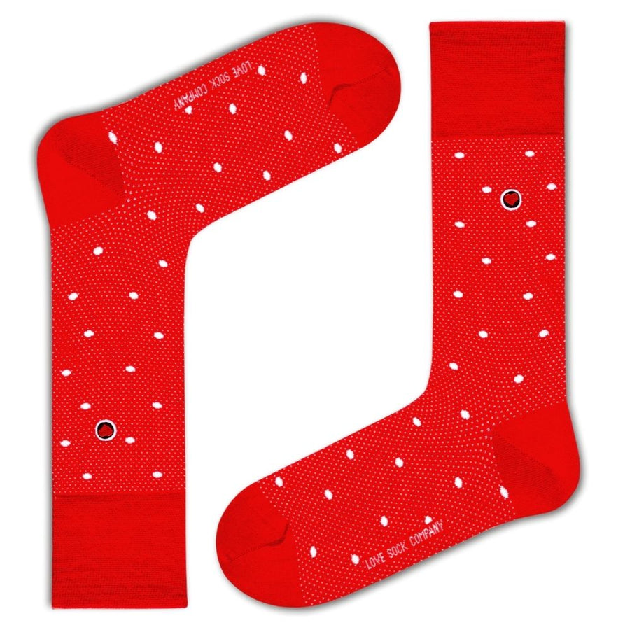 Polka Night Men's Luxury dress Socks Red (M) - LOVE SOCK COMPANY