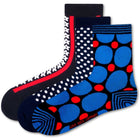 Love Sock Company 3 Pair Colorful Funky Women's Quarter Crew Dress Socks Polka Stars Blue - LOVE SOCK COMPANY