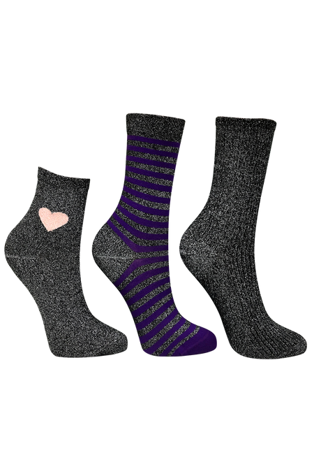 3 Women's Shimmer Socks mix bundle | Black shimmer Ankle socks, Black and purple striped socks, Black shimmer socks