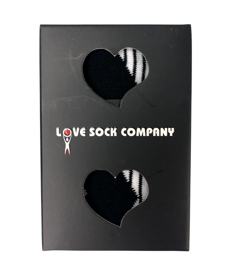 Love Sock Company groomsmen socks with black and white stripes. Individually gift boxed. Zig Zag