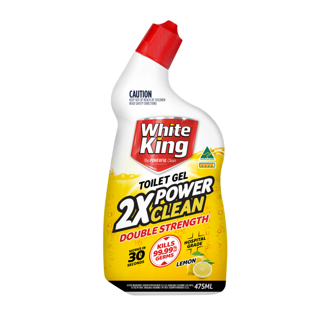 WHITE KING TOILET GEL 2 X POWER CLEAN LEMON 475ML