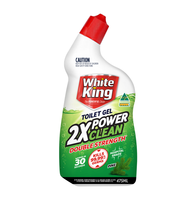 WHITE KING TOILET GEL 2 X POWER CLEAN PINE 475ML