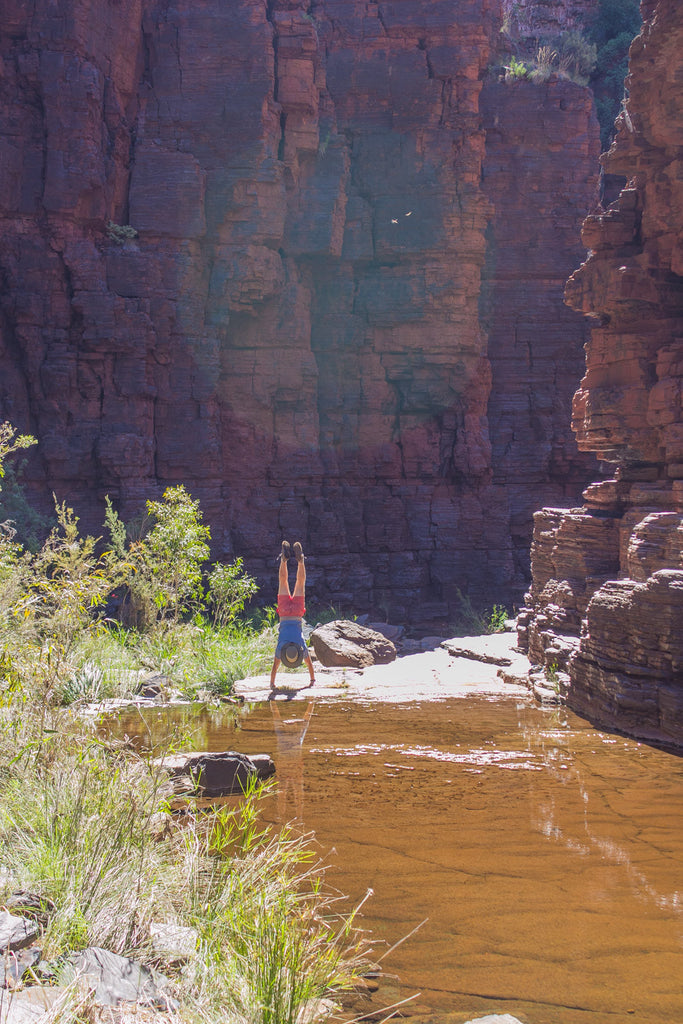 mike handstanding in a gorge
