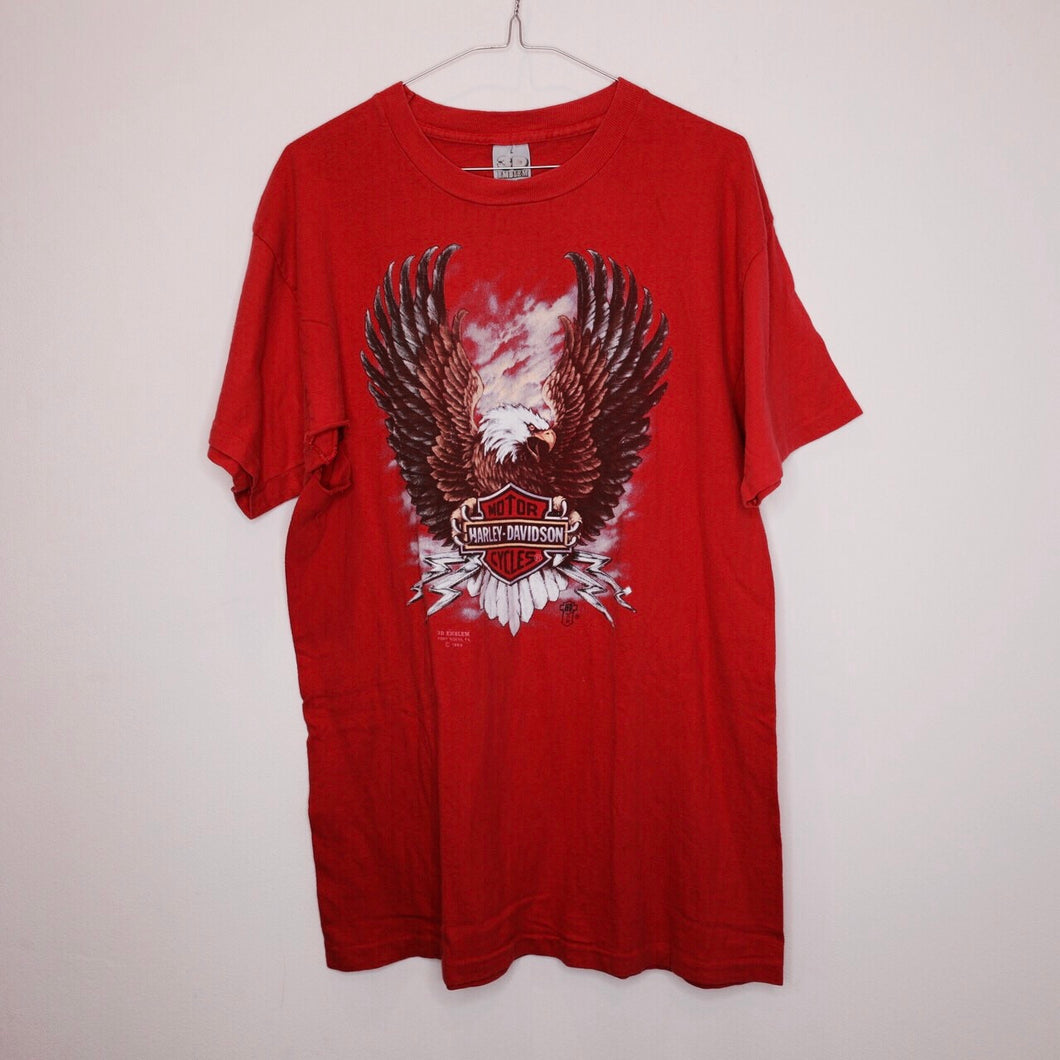 1989 3D Emblem Harley 'Red Eagle' tee
