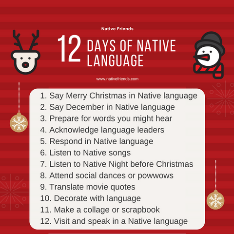 12 Days of Native language, by Emily Washines, founder and CEO of Native Friends