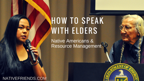 How to Speak with Elders: Native Americans and Resource Management, by Emily Washines, Native Friends. In the photo Emily Washines and Russell Jim (Yakama Nation tribal members)