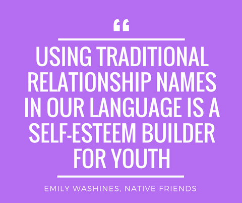 Using traditional relationship names in our language is a self-esteem builder for youth. Quote by Emily Washines