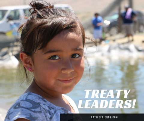 Treaty Leaders! A community campaign to educate about tribal treaty rights, including fishing in usual and accustomed places. By Emily Washines, Native Friends.