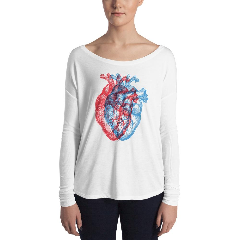 3-Dimensional Heart Women's Long Sleeve Tee
