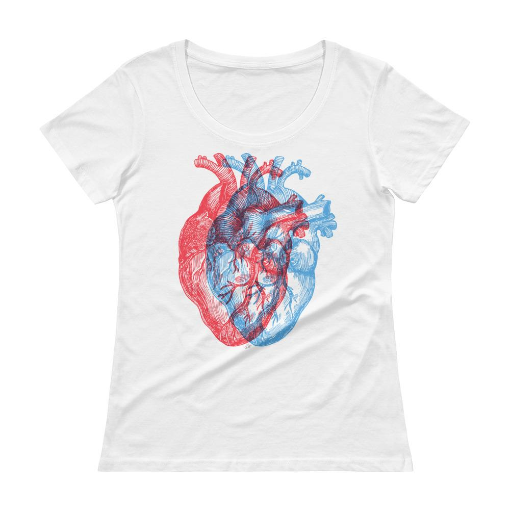 3-Dimensional Heart Women's Scoopneck T-Shirt