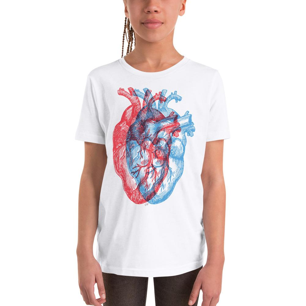 3-Dimensional Heart Youth Short Sleeve T-Shirt