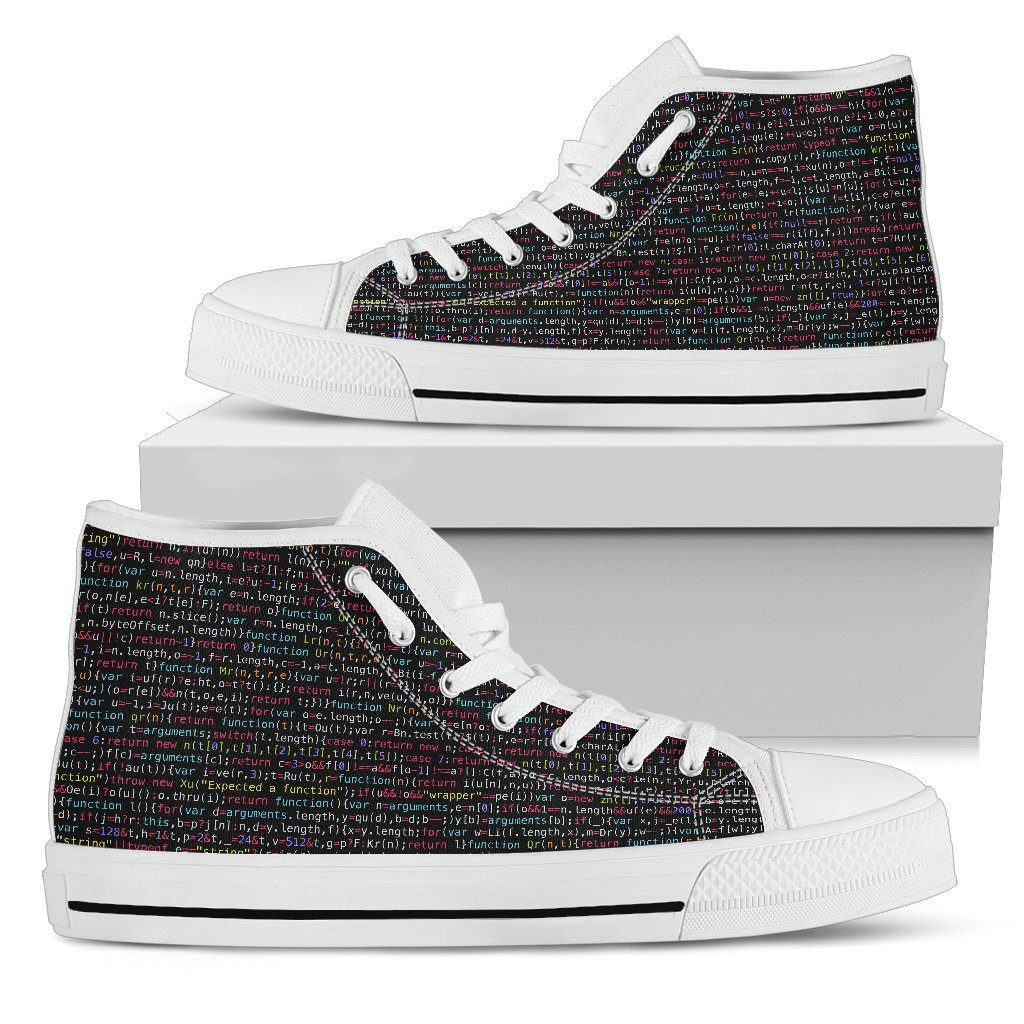 JavaScript Men's High Top Canvas Shoes