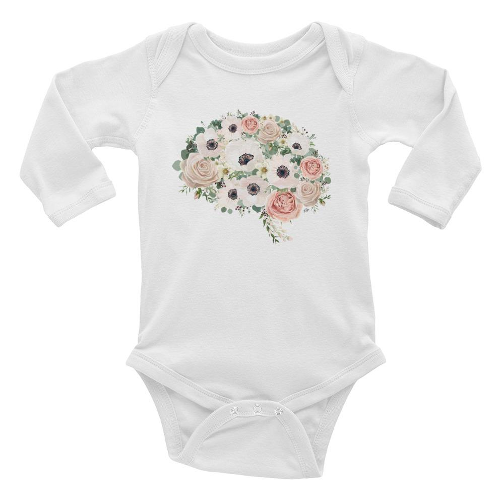 Mind In Bloom Long Sleeve Baby Onesie