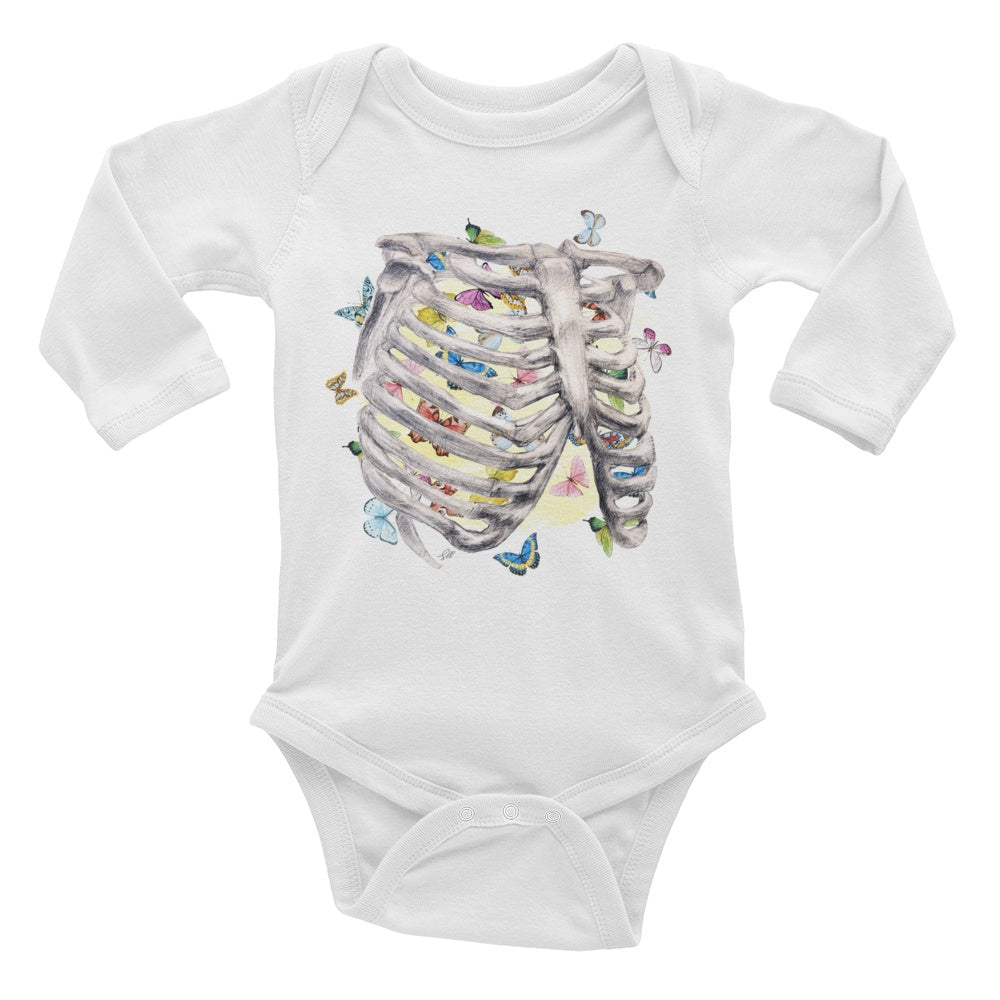 Set My Heart Aflutter Long Sleeve Baby Onesie