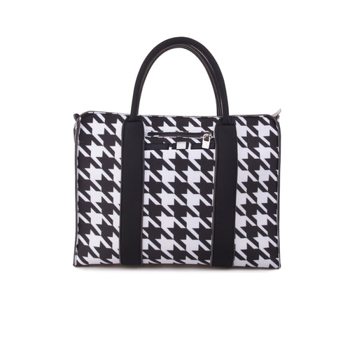 Black and White Houndstooth Print City Tote