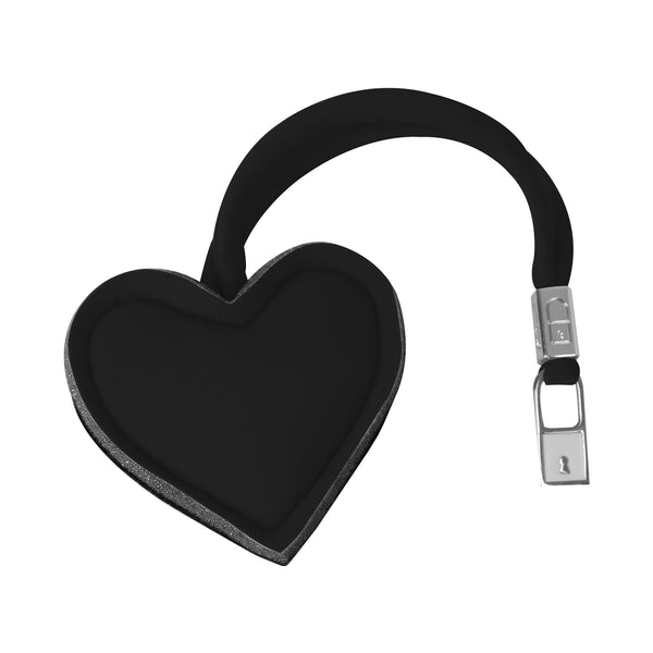 Metallic Black Heart Bag Charm