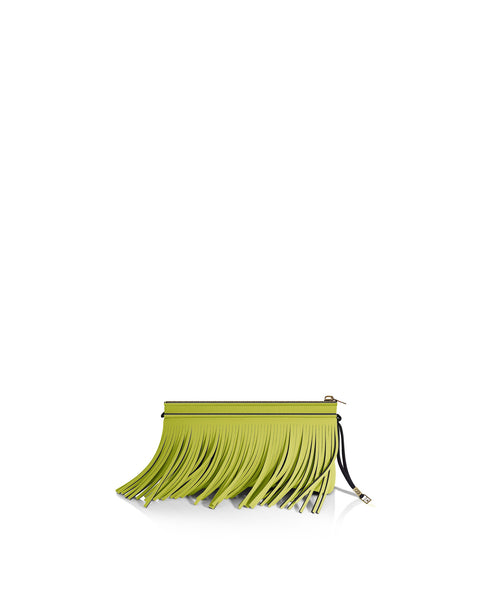 Acid Green Fringe Clutch