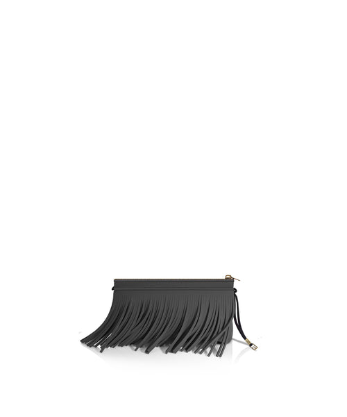 Metallic Graphite Fringe Clutch