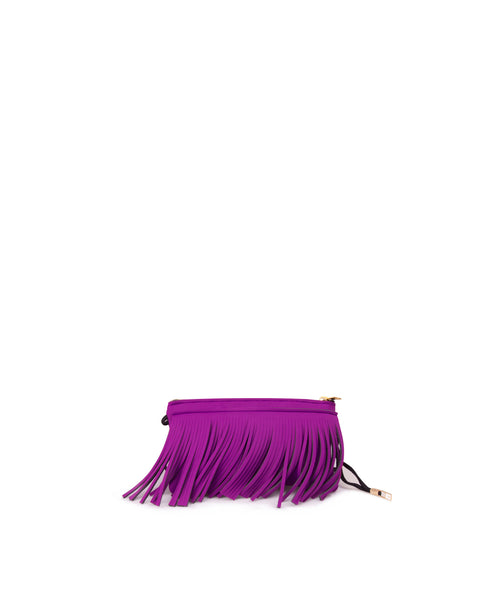 Orchid Pink Purple Fringe Clutch