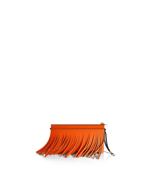 Tangerine Orange Fringe Clutch