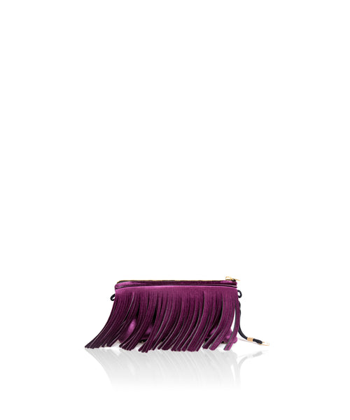 Save My Bag Fringe Clutch Aubergine Velvet