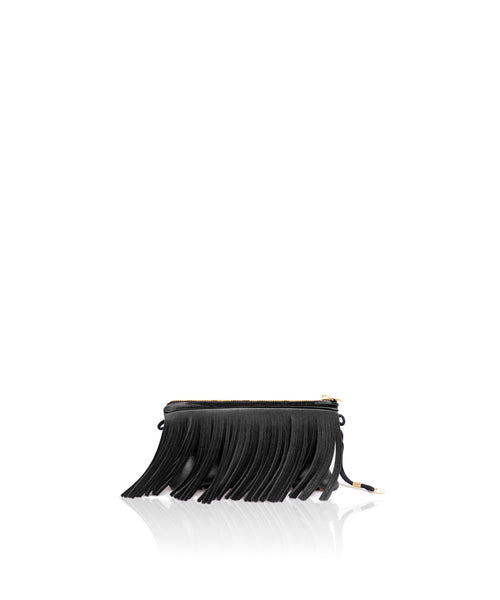 Save My Bag Fringe Clutch Black Velvet