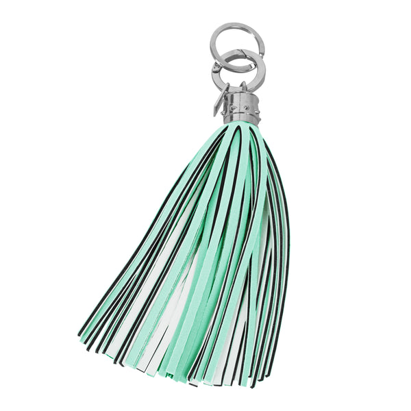 Aquamarine and Off White Maxi Tassel Keychain Charm