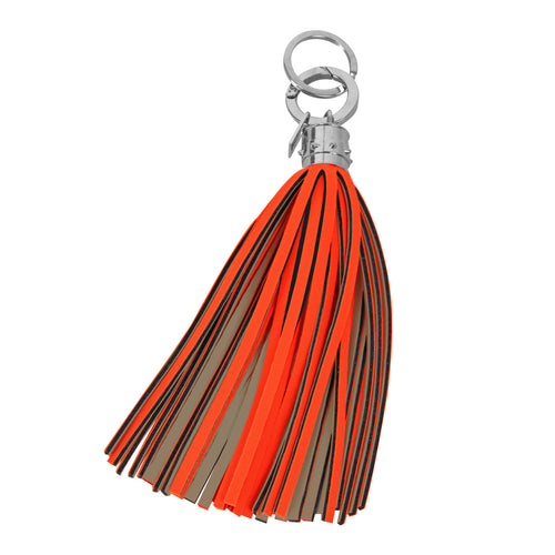 Bright Orange and Taupe Maxi Tassel Keychain Charm