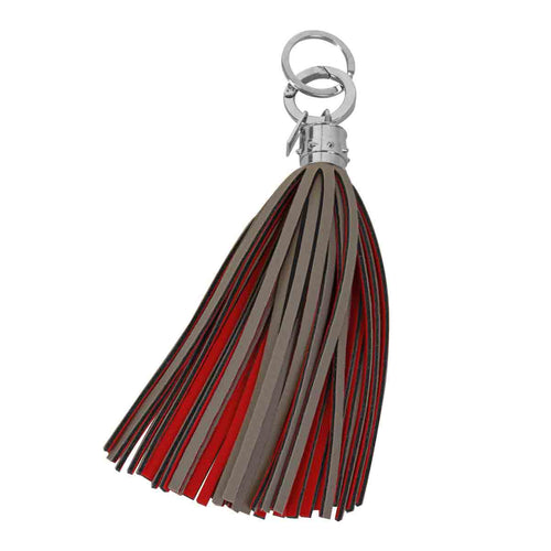 Taupe and Geranium Red Maxi Tassel Keychain Charm